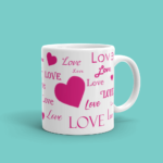 Featured Bright Pink Love and Hearts Mug