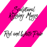 Sculptural Kissing Mugs Red and White