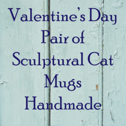 Valentines Day Pair of Sculptural Cat Mugs