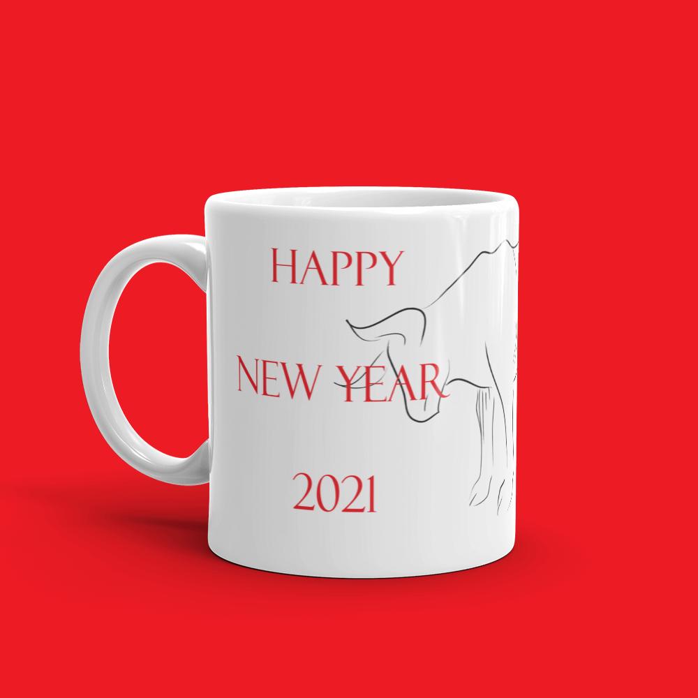Minimalist Ox Sketch for 2021 Lunar New Year Mug