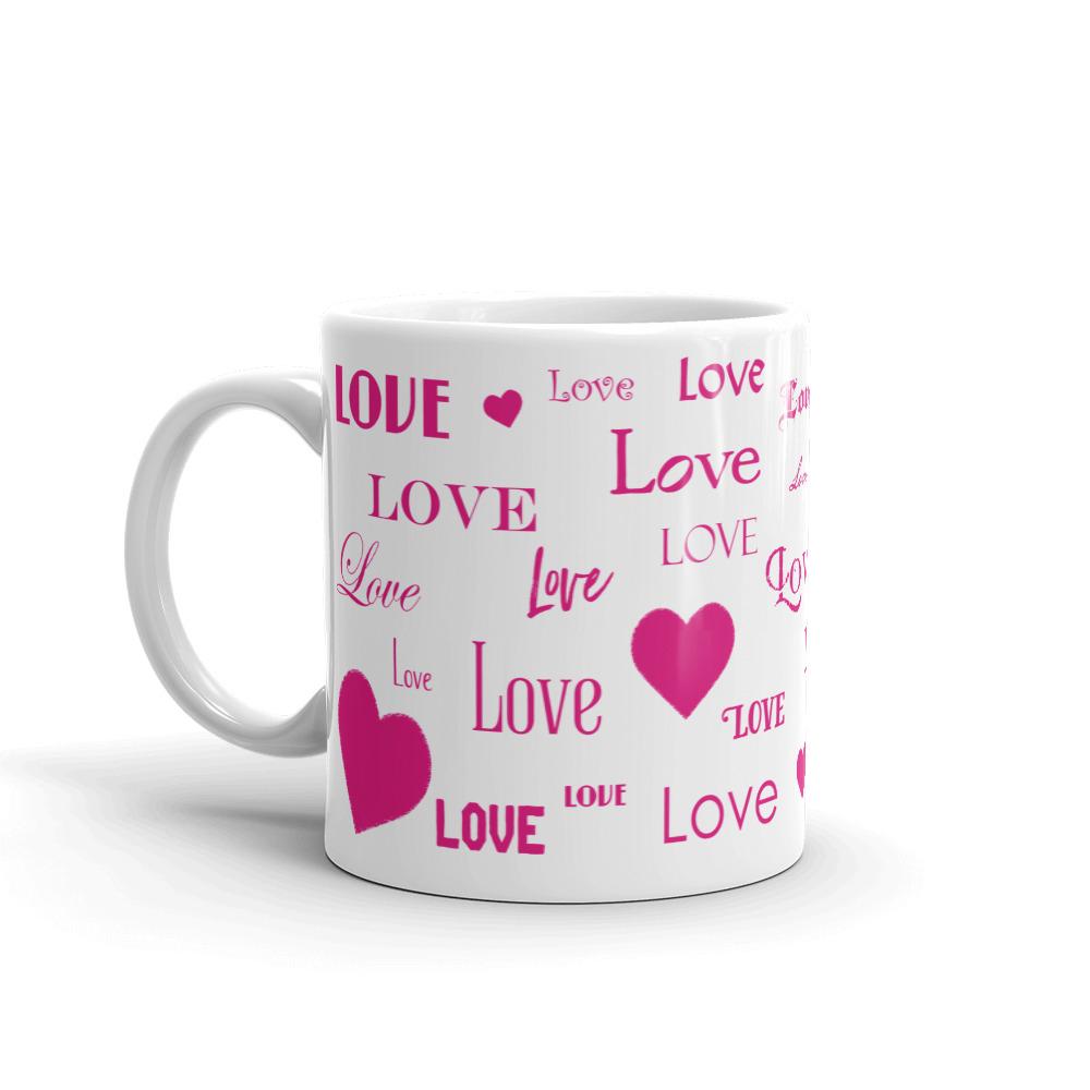 Love and Hearts Mug in Bright Pink